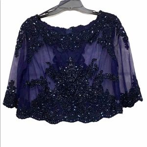 Sheer Navy Blue Sequin & Bead Blouse Size 14